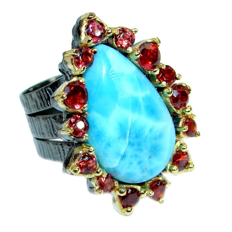 Floral Design genuine Larimar Garnet Gold plated over .925 Sterling Silver Ring s. 7 adjustable