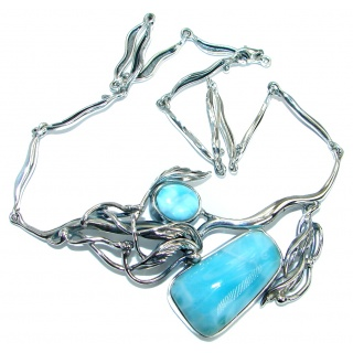 Always Together Nature inspired Sublime Larimar .925 Sterling Silver handmade necklace