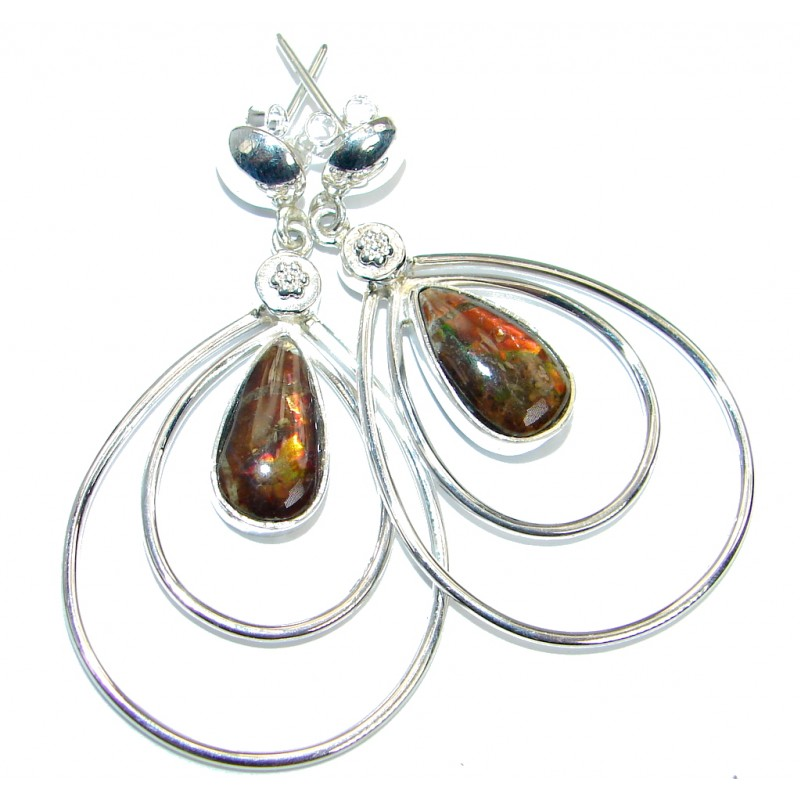 Orange Aura genuine Canadian Fire Ammolite .925 Sterling Silver handmade earrings