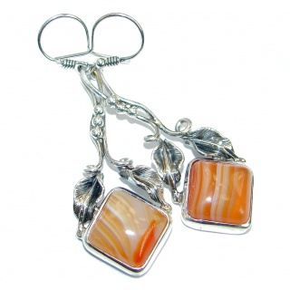 Orange Botswana Agate oxidized .925 Sterling Silver handmade earrings