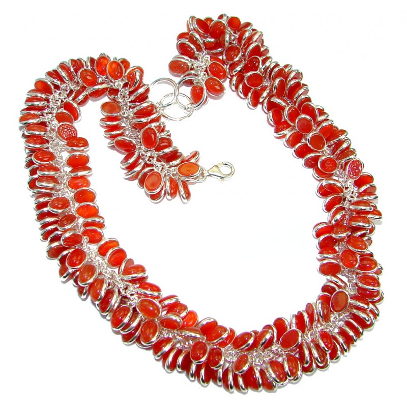 Orange Fall Beauty Genuine Carnelian Agate .925 Sterling Silver handmade necklace