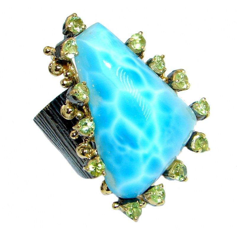Caribbean Beauty genuine Larimar Gold plated over .925 Sterling Silver Ring s. 7 adjustable