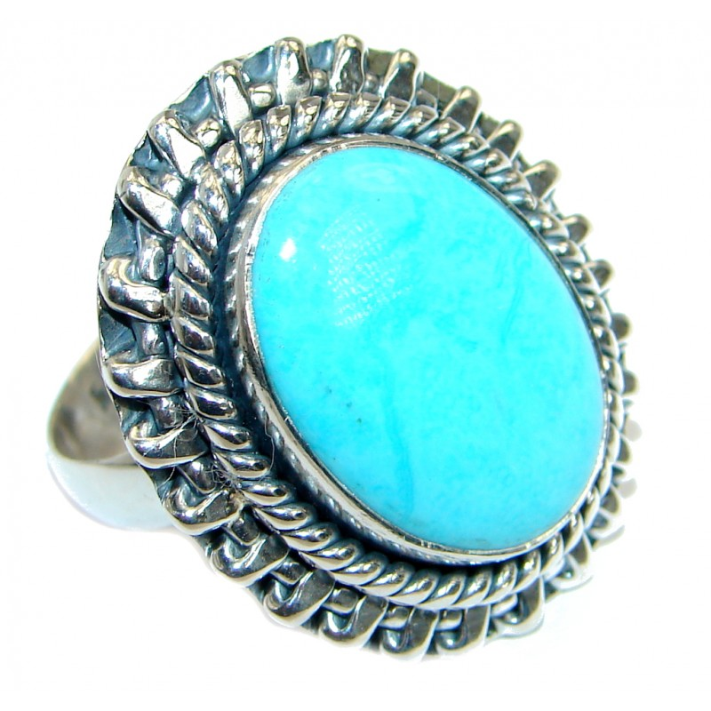 Sleeping Beauty Turquoise oxidized .925 Sterling Silver handmade ring size 8 adjustable