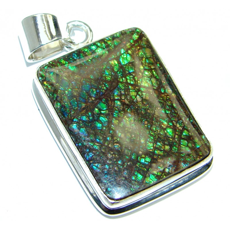 Dragon's Skin Authentic Beauty Canadian Ammolite .925 Sterling Silver handmade Pendant