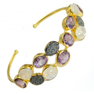 Real Treasure Genuine Amethyst Gold Rhodium over .925 Sterling Silver Bracelet / Cuff