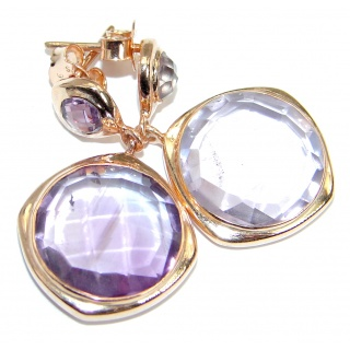 Genuine Pink Amethyst Rose Gold plated over .925 Sterling Silver handmade Earrings