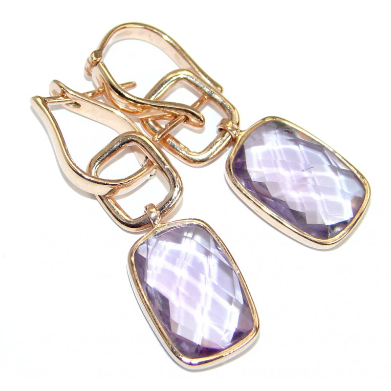 Genuine Pink Amethyst Rose Gold over .925 Sterling Silver handmade Earrings
