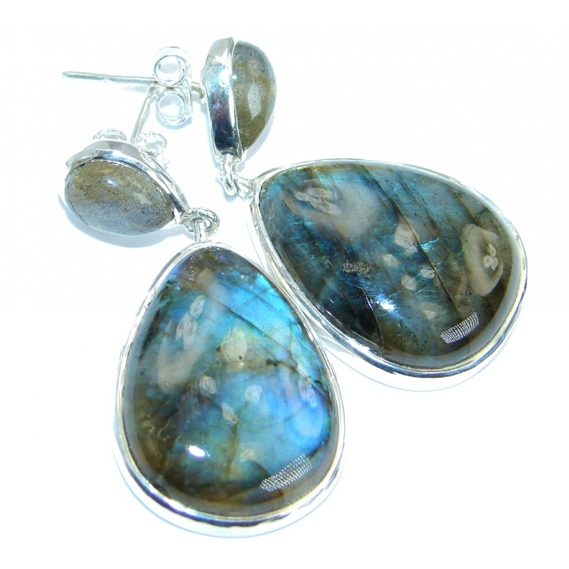 Perfect Bold genuine Labradorite .925 Sterling Silver handmade earrings