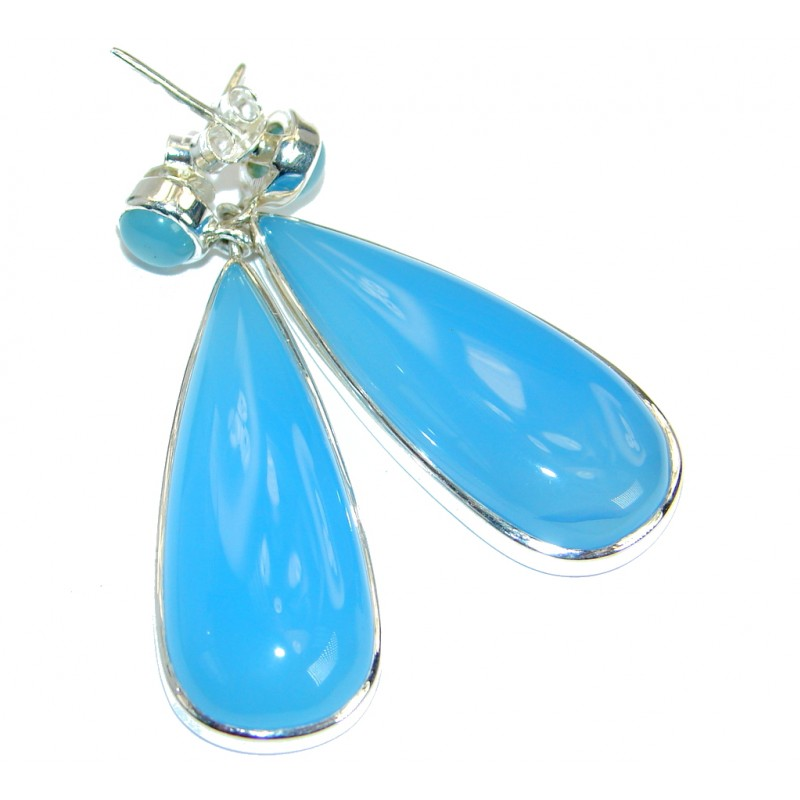 Sublime Blue Chalcedony Agate .925 Sterling Silver handmade stud earrings