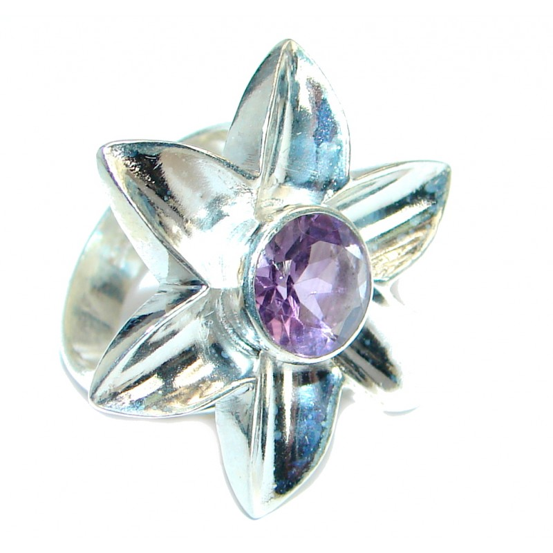 Genuine Pink Amethyst Silver Tone Ring s. 5 1/2
