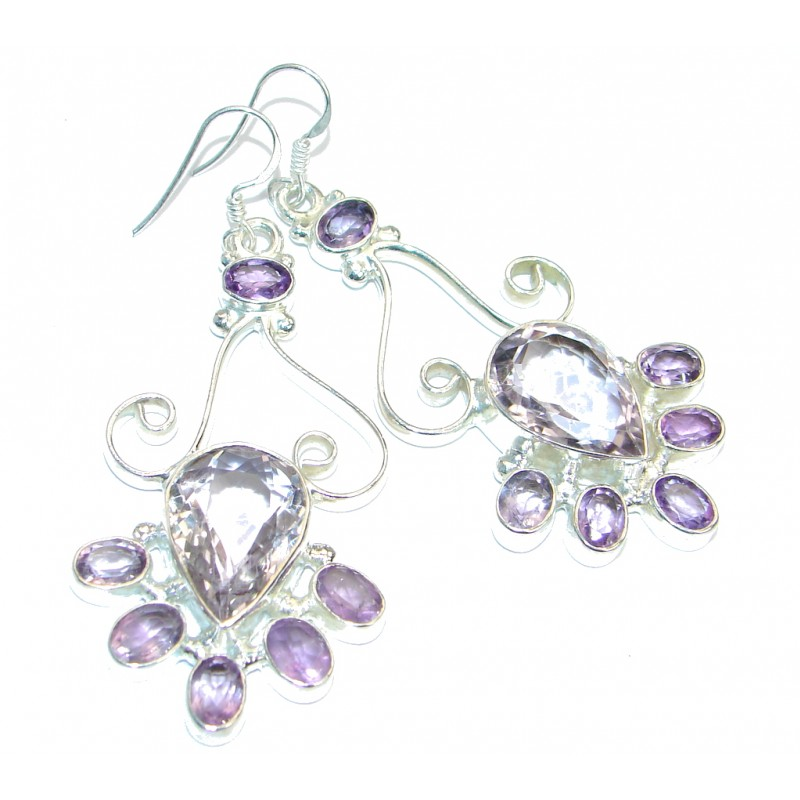 Huge Great Pink Amethyst Tone earrings