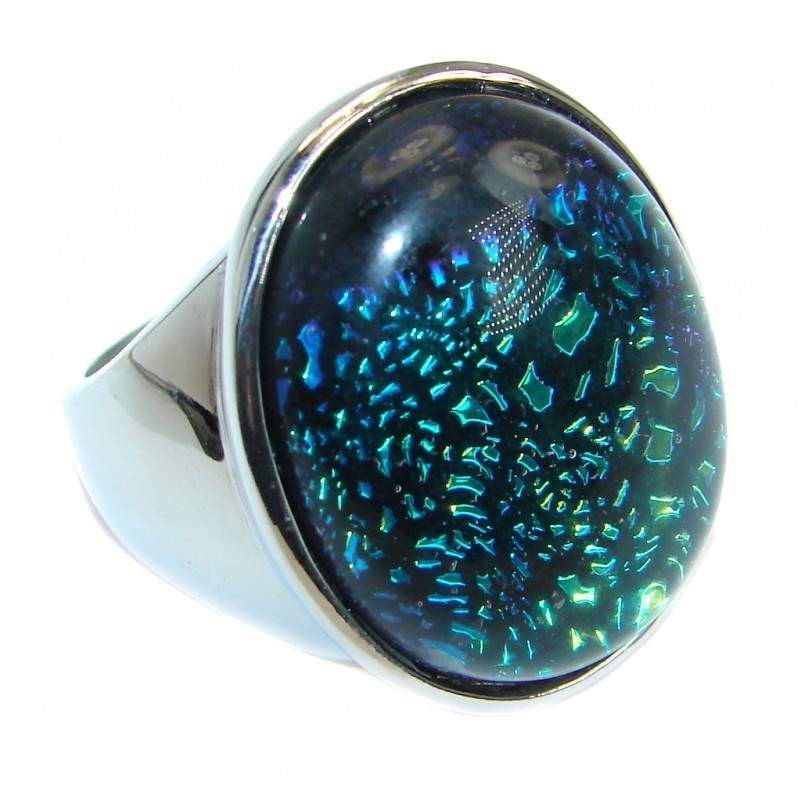 Dichroic Glass Silver Tone ring s. 11 1/2