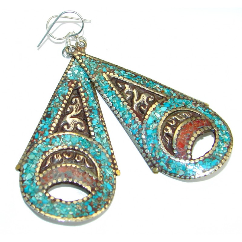 Perfect Turquoise Silver Tone handmade earrings