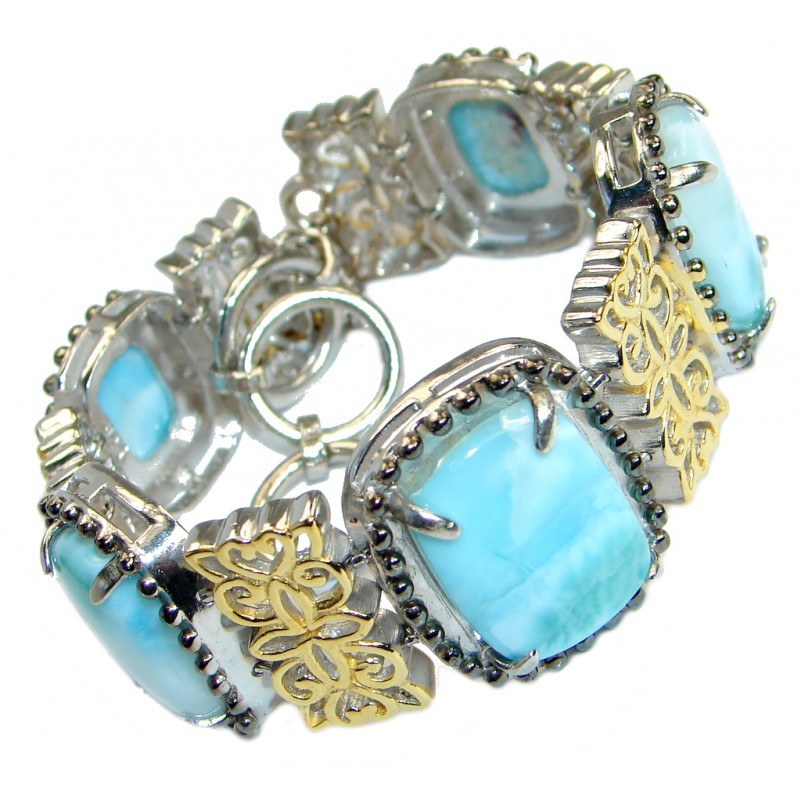 Flawless genuine Larimar Gold over .925 Sterling Silver handmade Bracelet