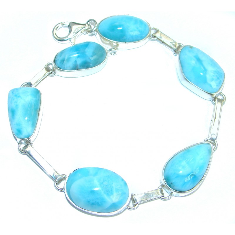 True Passion natural Larimar .925 Sterling Silver handmade Bracelet