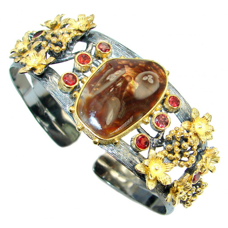 Baroque Design Natural Orange Fire Agate .925 Sterling Silver handmade Bracelet