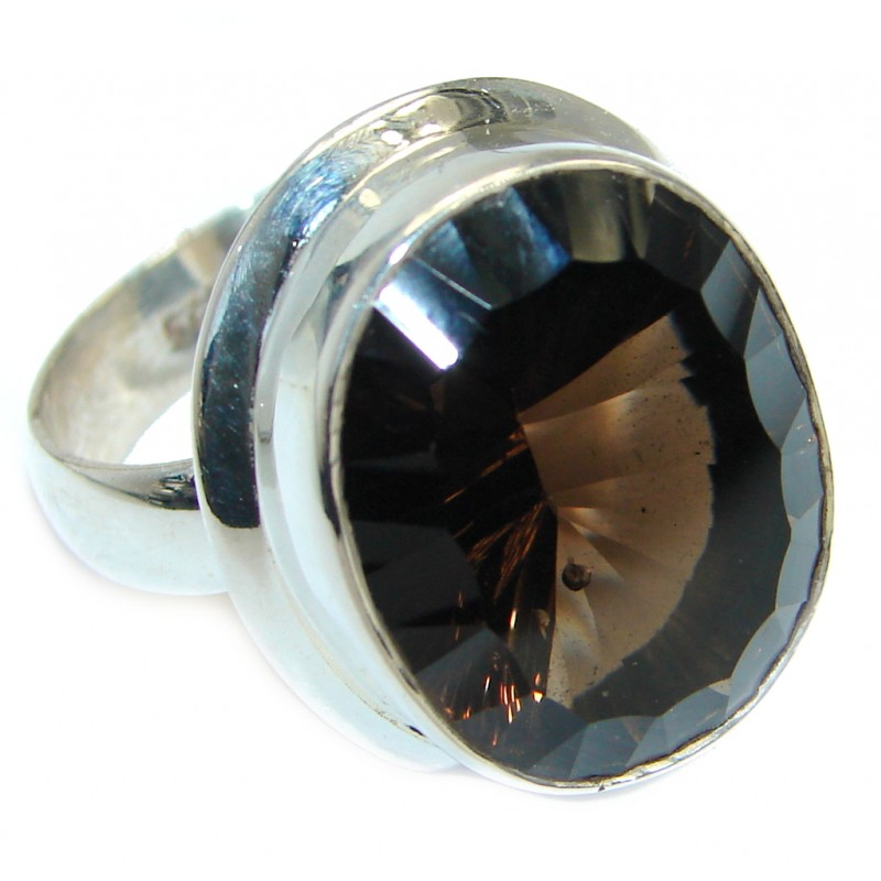 Amazing Smoky Topaz .925 Sterling Silver ring s. 8 1/4