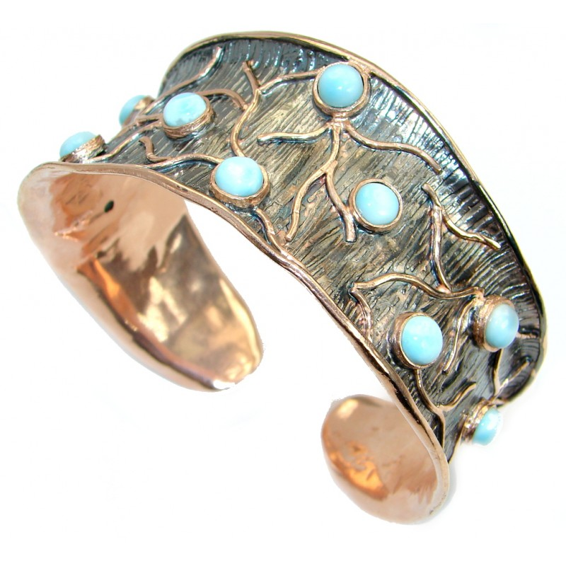 Genuine Blue Larimar Rose Gold Rhodium over .925 Sterling Silver handmade Bracelet Cuff