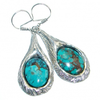 Long Genuine Turquoise oxidized .925 Sterling Silver handmade earrings