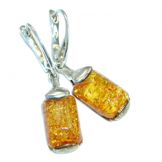 Luxury Genuine Long Baltic Polish Amber .925 Sterling Silver Earrings