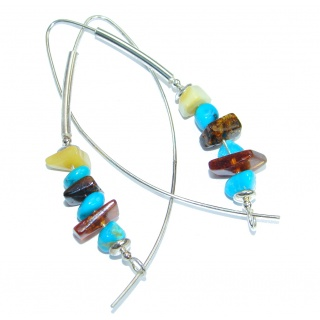 Genuine Long Baltic Polish Amber Sleeping Beauty Turquoise Sterling Silver Earrings