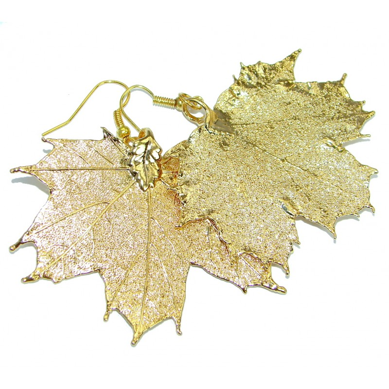 Real Japanese Maple Leaves Dipped In 24K Gold over .925 Sterling Silver earrings