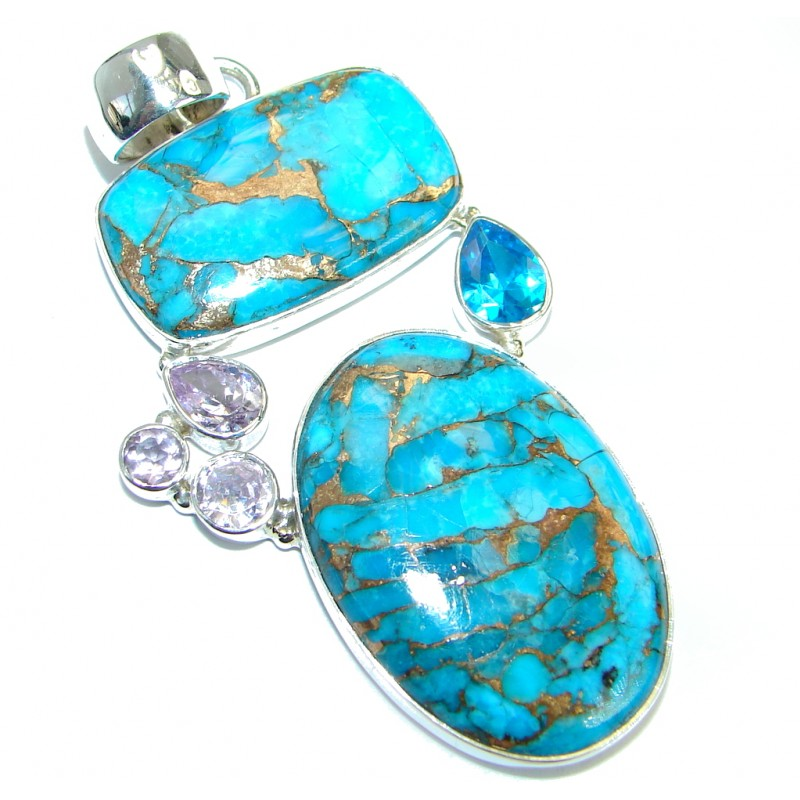 Style 123202 Diamontrigue Jewelry: Simple Style Blue Turquoise With Copper Vains .925