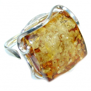 Genuine Baltic Polish Amber Sterling Silver handmade Statment Ring size 7 adjustable