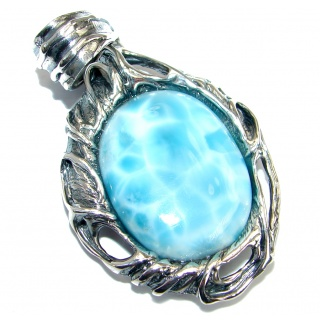 Nature inspired Sublime Larimar oxidized .925 Sterling Silver handmade pendant