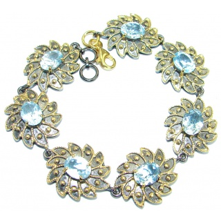 Floral Design Swiss Blue Topaz Gold over .925 Sterling Silver handmade Bracelet