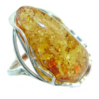 Genuine Baltic Polish Amber Sterling Silver handmade Statment Ring size 9