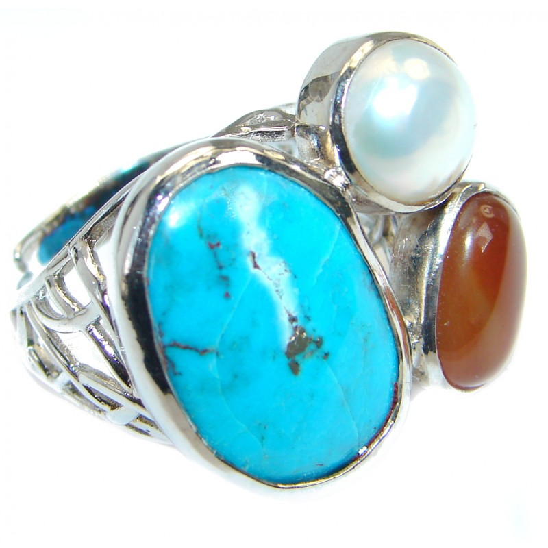 Beautiful Turquoise Sterling Silver handmade Ring s. 8