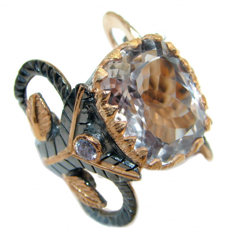 Unique White Topaz Rose Gold over .925 Sterling Silver handcrafted ring; s. 6