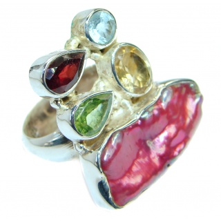 Pink Mother of Pearl .925 Sterling Silver hamdamde Ring s. 7
