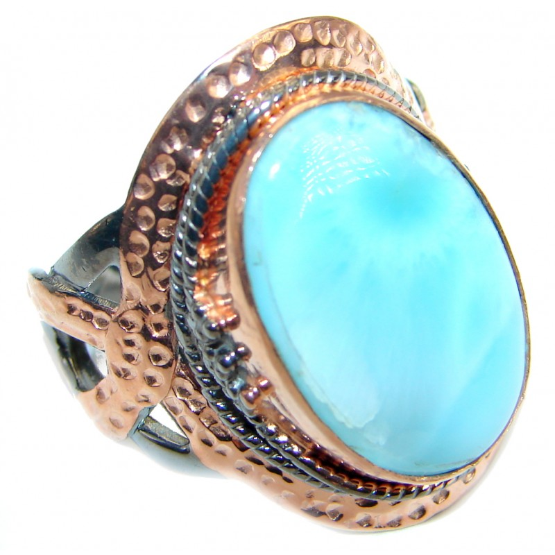 Genuine Larimar .925 Sterling Silver handcrafted Ring s. 9