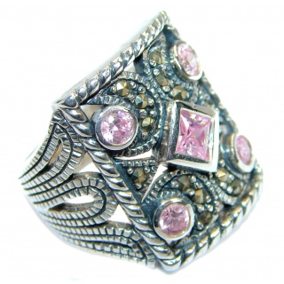 Pink Cubic Zirconia .925 Sterling Silver handmade Ring s. 6