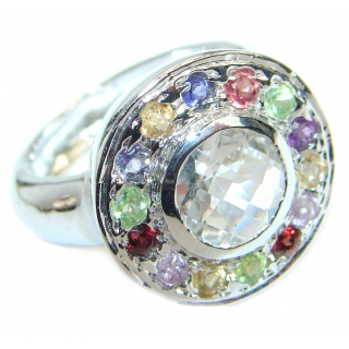 White Cubic Zirconia .925 Sterling Silver handmade Ring s. 8