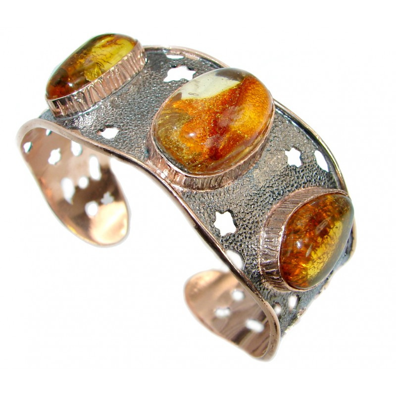 Beautiful Genuine Handcrafted Polish Amber Two Tones .925 Sterling Silver Bracelet / Cuff