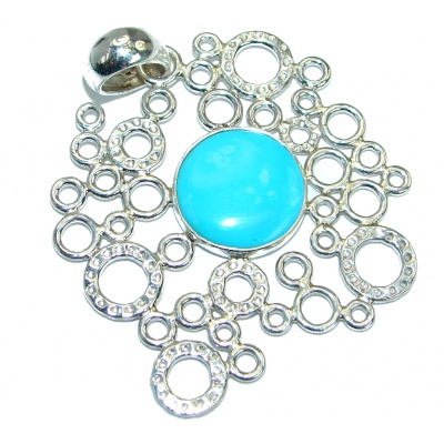 Genuine great quality Sleeping Beauty Blue Turquoise .925 Sterling Silver handmade Pendant
