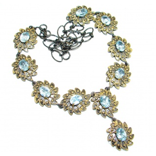 Rich Byzantine Design Genuine Swiss Blue Topaz Gold plated over .925 Sterling Silver handmade necklace