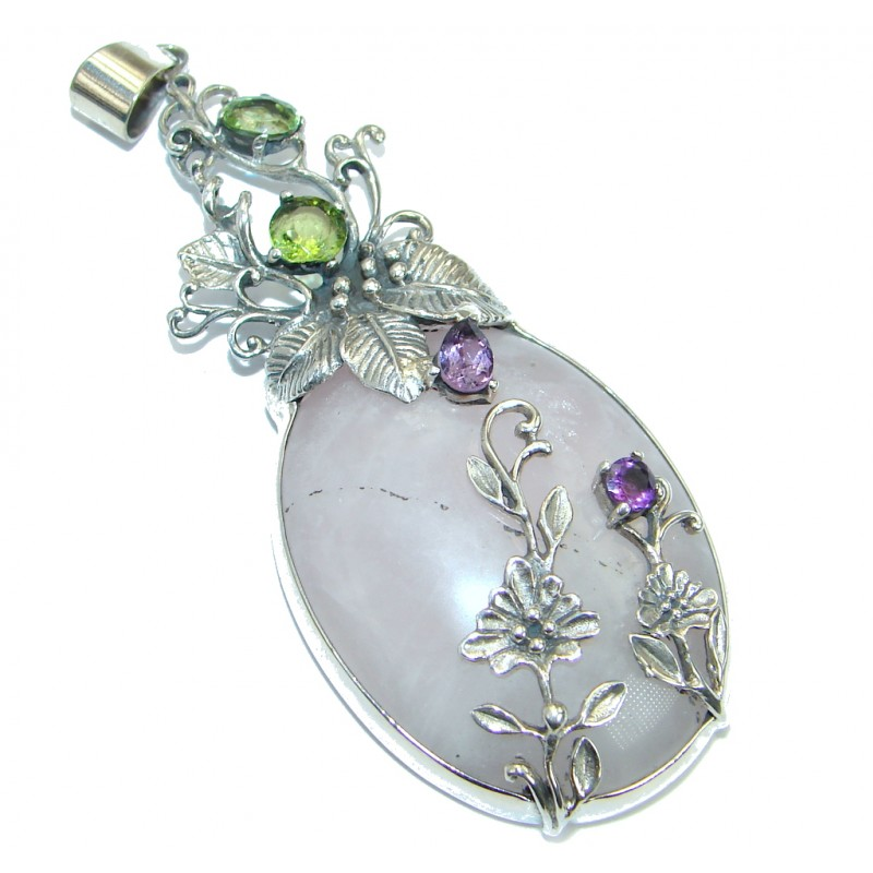 Genuine Rose Quartz .925 Sterling Silver handmade Pendant