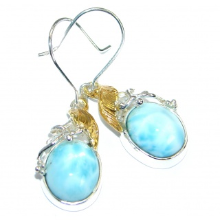 Precious genuine Blue Larimar Two Tones .925 Sterling Silver handmade earrings