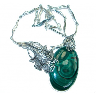 Very Unique Genuine Malachite oxidized .925 Sterling Silver handmade necklace