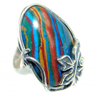 Blue Rainbow Calsilica .925 Sterling Silver handcrafted ring size 7 adjustable