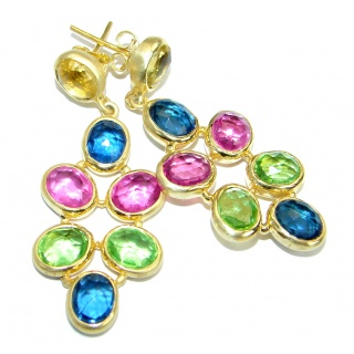 Impressive Tourmaline Gold plated over Sterling Silver handmade stud earrings