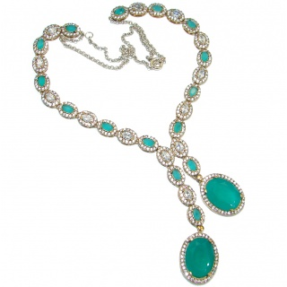Victorian Style Snakes created Green Emerald & White Topaz .925 Silver necklace