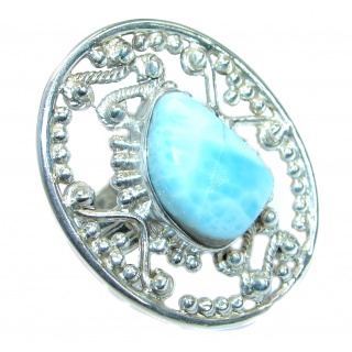Huge Genuine Larimar .925 Sterling Silver handcrafted Ring s. 9