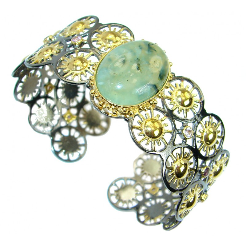 Fabulous Genuine Moss Prehnite Gold Rhodium over .925 Sterling Silver Bracelet / Cuff