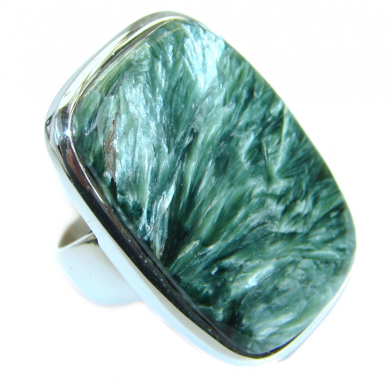 Great quality Green Russian Seraphinite Sterling Silver handmade Ring size 8 1/4
