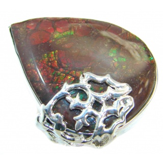 Canadian Rainbow Fire Ammolite .925 Sterling Silver handmade ring s. 7 adjustable